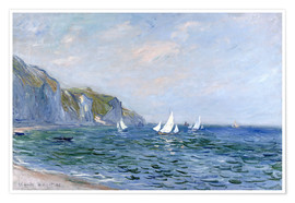 Poster Premium  Rocks and sailing boats in Pourville - Claude Monet