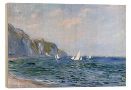 Legno  Rocks and sailing boats in Pourville - Claude Monet