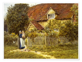 Poster Premium  Mother and child on lodge - Helen Allingham