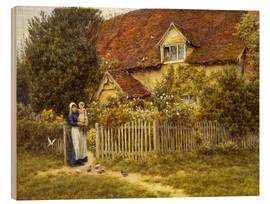 Legno  Mother and child on lodge - Helen Allingham