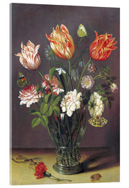 Stampa su vetro acrilico  Tulips with other Flowers in a Glass on a Table - Jan Brueghel d.Ä.