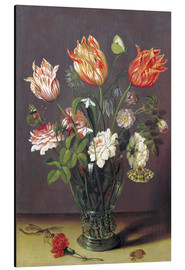 Stampa su alluminio  Tulips with other Flowers in a Glass on a Table - Jan Brueghel d.Ä.
