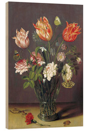 Stampa su legno  Tulips with other Flowers in a Glass on a Table - Jan Brueghel d.Ä.