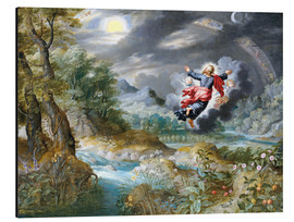 Stampa su alluminio  God creating the sun, the moon and the stars in the Firmament - Jan Brueghel d.Ä.
