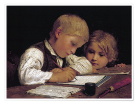 Poster Premium  Boy writing with his sister - Albert Anker