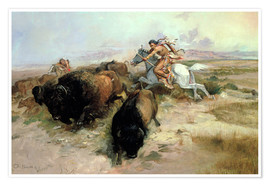 Poster Premium  Buffalo Hunt, 1897 - Charles Marion Russell
