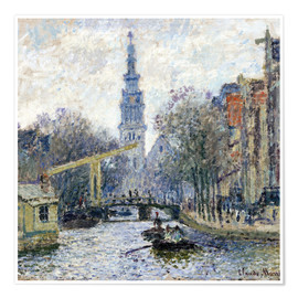Poster Premium  Canal a Amsterdam - Claude Monet