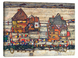 Stampa su tela  Houses with colorful laundry - Egon Schiele