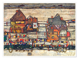 Poster  Houses with colorful laundry - Egon Schiele