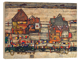 Stampa su legno  Houses with colorful laundry - Egon Schiele