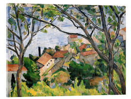 Stampa su vetro acrilico  View of L'Estaque Through the Trees - Paul Cézanne