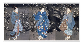 Poster Premium An oban triptych depicting a Nocturnal Scene with three Bijin