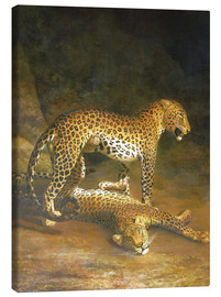 Tela  Two Leopards lying in the Exeter Exchange - Jacques Laurent Agasse