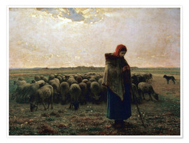 Poster  The shepherdess - Jean-François Millet