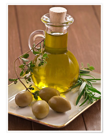 Poster Premium Olive oil and olives