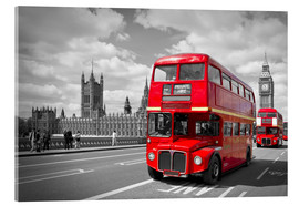 Vetro acrilico  Westminster Bridge and Red Buses - Melanie Viola