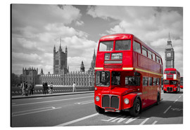 Alluminio Dibond  Westminster Bridge and Red Buses - Melanie Viola