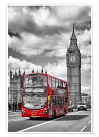 Poster Premium  Big Ben and Red Bus - Melanie Viola