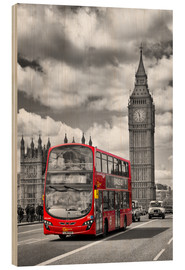Stampa su legno  Big Ben and Red Bus - Melanie Viola