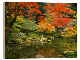 Stampa su legno  Japanese garden in autumn with red maple tree - Jan Christopher Becke