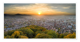 Poster Premium  Freiburg at sunset - Jan Christopher Becke