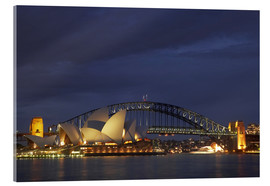 Stampa su vetro acrilico  Sydney Opera e Harbour Bridge - David Wall