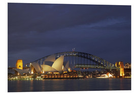 Stampa su schiuma dura  Sydney Opera e Harbour Bridge - David Wall