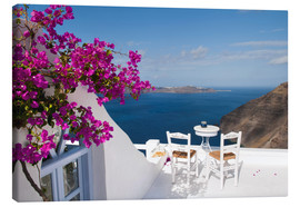 Tela  Hotel terrace with pink flowers and stunning views - Bill Bachmann