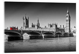 Stampa su vetro acrilico  Westminster Bridge and Bus - Melanie Viola