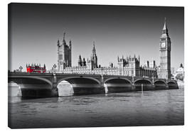 Stampa su tela  Westminster Bridge and Bus - Melanie Viola