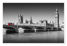 Poster Premium  Westminster Bridge and Bus - Melanie Viola
