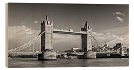 Stampa su legno  Tower Bridge black and white - Melanie Viola