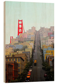 Stampa su legno  San Francisco and Golden Gate Bridgee - John Morris