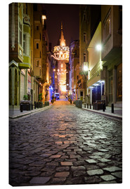 Stampa su tela  The famous Galata-Tower at night (Istanbul/Turkey) - gn fotografie