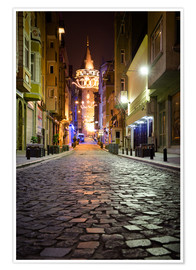 Poster Premium  The famous Galata-Tower at night (Istanbul/Turkey) - gn fotografie