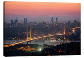 Stampa su tela  Bosporus-Bridge at Night (Istanbul / Turkey) - gn fotografie