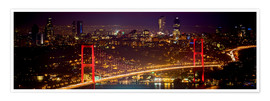Poster Premium  Bosporus-Bridge at night - red (Istanbul / Turkey) - gn fotografie