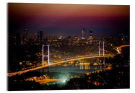 Vetro acrilico  Bosporus-Bridge at night - pink (Istanbul / Turkey) - gn fotografie