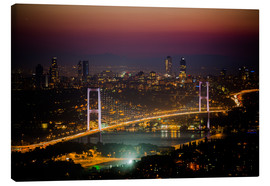 Stampa su tela  Bosporus-Bridge at night - pink (Istanbul / Turkey) - gn fotografie