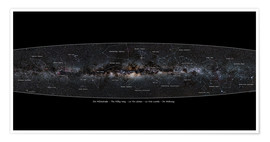 Poster Premium  Milky Way, labeled (german) - Jan Hattenbach