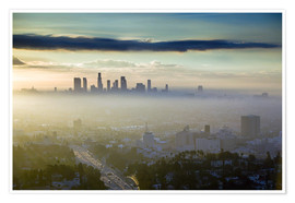 Poster  Los Angeles skyline in the morning mist - Walter Bibikow