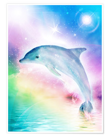 Poster  Rainbow Dolphin - Dolphins DreamDesign