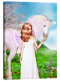 Stampa su tela  Angel and Unicorn - Dolphins DreamDesign