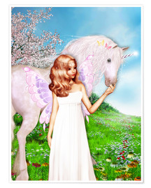 Poster Premium  Angel and Unicorn - Dolphins DreamDesign