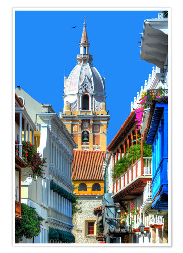 Poster Premium Chiesa a Cartagena, in Colombia