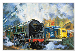 Poster Premium  Evening Star, l'ultima locomotiva a vapore e il nuovo Deltic diesel-elettrico - Harry Green