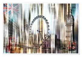 Poster Premium  London Skyline Collage blue Sky - Städtecollagen