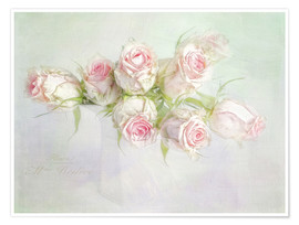 Poster  pretty pink roses - Lizzy Pe