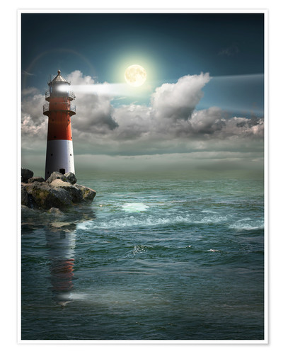 Poster Premium Lighthouse by moonlight