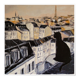Poster Premium  Black cat on the roofs of Paris - JIEL